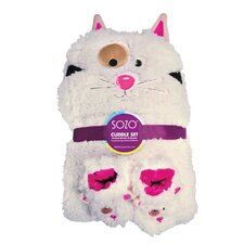 <strong>Sozo</strong> Kitty Cuddle Blanket and Bootie Set