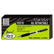 Sarasa Retractable Gel Pen, Medium, 24 Per Box