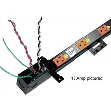 Long 20 Outlet, Configurable Single or Dual 15 Amp Circuit Thin Power Strip with J-Box
