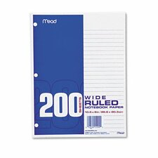 Filler Paper, 16-Lbs., Wide Ruled, 3-Hole Punched, 10-1/2 X 8, 200 Sheets/Pack