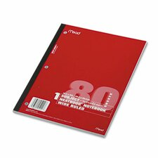 Single Subject Notebooks, Wide Margin/Rule, 8 X 10-1/2, 80 Sheets/Pad
