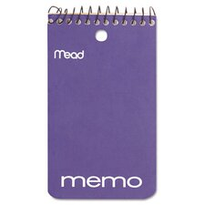 "<strong>Mead</strong> Memo Book, College Ruled, 3"" X 5"", Wirebound, Punched, 60 Sheets"