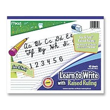 "Writing Tablet, Raised Ruling, Dotted Lines, 8""x10"", White"