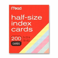 "Index Cards, Half-size, 3""x2-1/2"", 200 per Pack, Assorted"