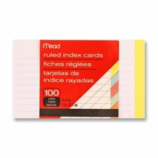 "Index Cards, Ruled, 3""x5"", 100 Count, Assorted"