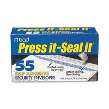 Press-It Seal-It Security Envelope, 3 5/8 X 6 1/2, 20 Lb, 55/Box