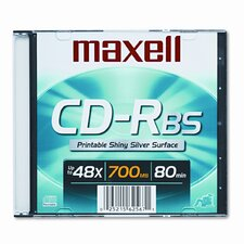 CD-R Disc, 700MB/80min, 48x, with Slim Jewel Case, Shiny Silver