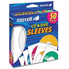 <strong>Maxell Corp. Of America</strong> CD/DVD Sleeves, Clear Window, 50 per Pack, White
