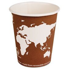 World Art Renewable Resource Compostable Hot Drink Cups, 10 Oz, 1000/Carton