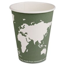 World Art Renewable Resource Compostable Hot Cups, 12 Oz, 50/Pack