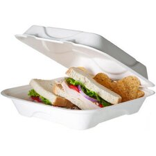 """Bagasse Hinged 9"""" Clamshell Containers in White (Set of 200)"""