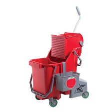 8 Gallon Side-Press Restroom Mop Bucket Combo in Red