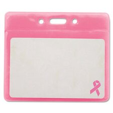 "Advantus Breast Cancer Awareness Badge Holder, Horizontal, 3 1/2"" X 2 1/2"", 25/Pack"