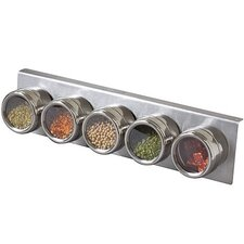 <strong>Lipper International</strong> Soho 5-Piece Stainless Steel Container and Under Cabinet Rack