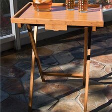 Bamboo Folding TV Tray Table with Lip (Set of 4)