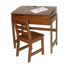 Kids' Desk and Chair Set in Walnut