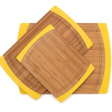 3 Piece Bamboo Non Slip Cutting Board Set