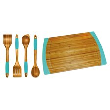5 Piece Bamboo Cutting Board and Kitchen Tools with Silicone Handles