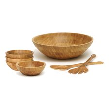 Bamboo Round 7 Piece Salad Set