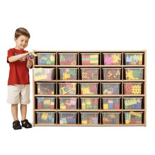 25 Tray Storage Cubbie with Clear Trays
