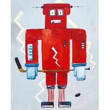 Patchwork Bom Loves Hockey Robot Canvas Print by Liz Clay
