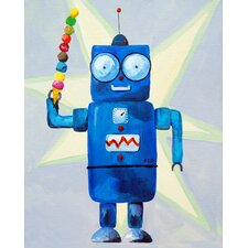 Patchwork Dimdat Love Ice Cream Robot Canvas Art