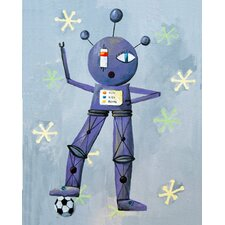 <strong>CiCi Art Factory</strong> Patchwork Newton Loves Soccer Robot Canvas Print by Liz Clay