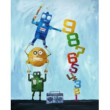 Nautical Robots Love Numbers Giclée Canvas Print