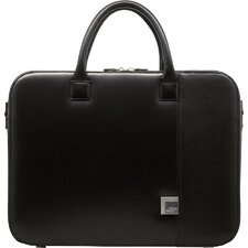 Box Calf Leather Briefs Laptop Briefcase