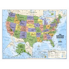 Kids Political USA Wall Map (Grades 4-12)