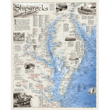 <strong>National Geographic Maps</strong> Shipwrecks of Delmarva Wall Map