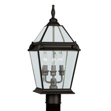 "Fleur De Lis 3 Light 9"" Outdoor Post Lantern"