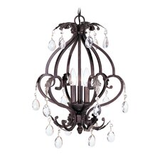 Iron and Crystal 3 Light Mini Chandelier in Hand Rubbed Bronze