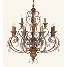 Iron and Crystal Twelve Light Chandelier in Crackled Bronze with Vintage Stone Accents