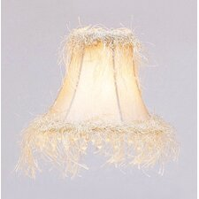 Bell Clip Silk Chandelier Shade with Corn Silk Fringe and Beads in Pewter