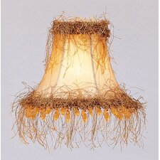 Silk Bell Clip Chandelier Shade with Light Corn Silk Fringe and Beads in Champagne