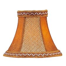 Tan/Brown Suede Bell Clip Chandelier Shade with Fancy Trim