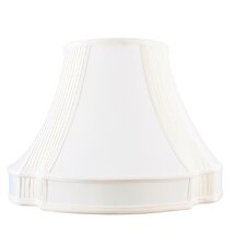 French Oval Shantung Silk Lamp Shade with Side Pleat in White