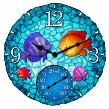 "Fish Outdoor 14"" Clock/Thermometer"