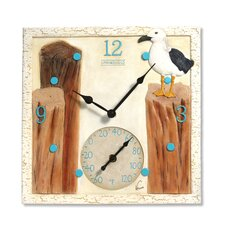 """Springfield 14"""" Seagulls Clock and Thermometer"""