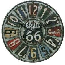 """Oversized Springfield Route 66 License Plate 22.75"""" Wall Clock"""