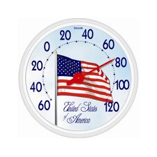 "13.5"" Large Dial USA Flag Thermometer"