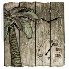 "Springfield Precision Instruments Palm Tree Clock and 16"" Thermometer"