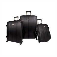 Rome 3 Piece Hard-shell Spinning/Rolling Luggage Set in Black
