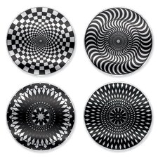 <strong>Kikkerland</strong> Moire Coaster in Black/White (Set of 4)
