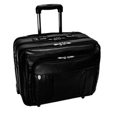 "R Series LaSalle Leather 17"" Wheeled Laptop Briefcase in Black"