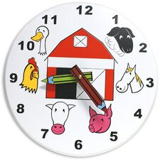 "10"" Kids Farm Wall Clock"