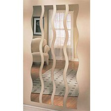 "<strong>Mirrotek</strong> 60"" H x 8"" W Wave Strip Mirror (Set of 4)"
