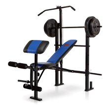<strong>Marcy</strong> Standard Weight Adjustable Olympic Bench with 120 lb Weight Set