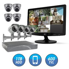"8CH Smart Security DVR with 1TB HDD and 4 x Hi-Res Outdoor Dome Security Cameras with IR Cut filter and 4 Ultra-Hi-Res Security Cameras with 19"" LED Screen"